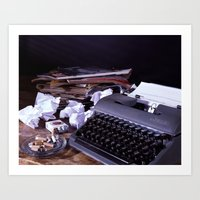 catcher in the rye Art Prints featuring Vintage Typewriter with Catcher in the Rye quote by TiffanyOneillPhotography
