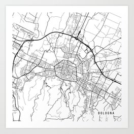 Bologna Map, Italy - Black and White Art Print
