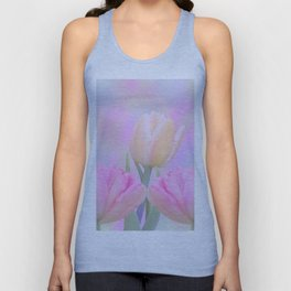 Painterly Pastel Tulips Unisex Tank Top