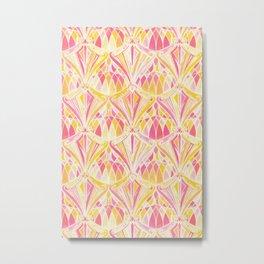 Art Deco Pattern in Pink and Orange Metal Print