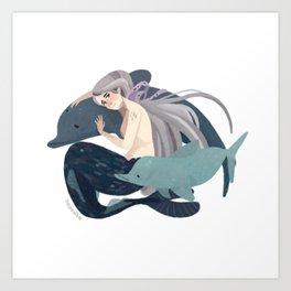Sad mermaid Art Print