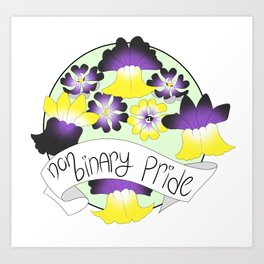 Non-Binary Pride Flowers Art Print