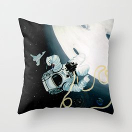 Spaceman Moon Alien and Stars Throw Pillow