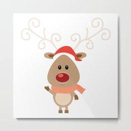 Adorable Santa Hat Reindeer (Color) Metal Print