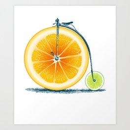 Orange Lime and an Old Bike Art Print