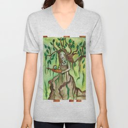 Dryad with a Tray Unisex V-Neck