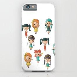Cute little happy girly girls iPhone Case
