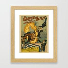 Vintage poster - Circus Horse Jumping Through Fire Framed Art Print