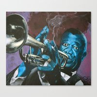 louis armstrong Canvas Prints featuring Louis Armstrong by Boaz