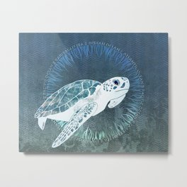Green Sea Turtle Wreath Metal Print