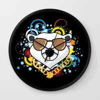 hip hop Wall Clocks featuring Hip-Hop Polar Bear by 1986