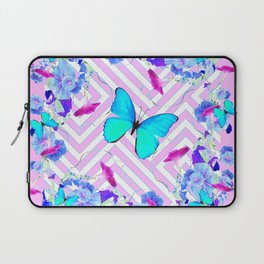 Turquoise Blue Butterflies Morning Glories Abstract Pattern Laptop Sleeve