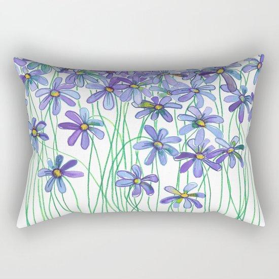 Purple Daisies in Watercolor & Colored Pencil Rectangular Pillow