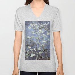 Vincent Van Gogh Almond Blossoms : Steel Blue & Gray Unisex V-Neck