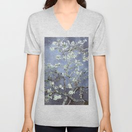 Vincent Van Gogh Almond Blossoms : Steel Blue & Gray Unisex V-Neck