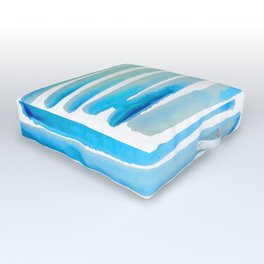 New Year Blue Water Lines Outdoor Floor Cushion