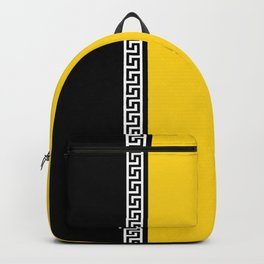 Greek Key 2 - Yellow and Black Backpack