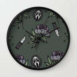 ghostface w knife ~green tones Wall Clock
