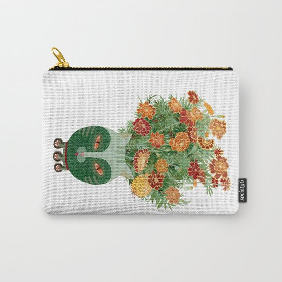 Marigolds in cat face vase  Carry-All Pouch