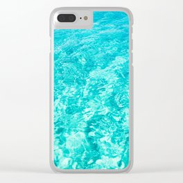 Turquoise Blue Ocean Water Clear iPhone Case