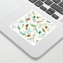 Green Leaves, Paint Splatter, Pattern Sticker