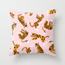 Cute tiger in the tropical forest hand drawn on pink background illustration Throw Pillow