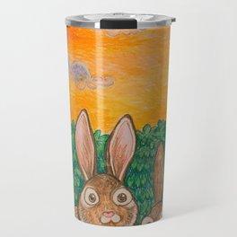 Rabbits in the Bushes Travel Mug