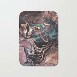 Metallic Rose Gold Marble Swirl Bath Mat