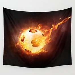 Fire Football Wall Tapestry