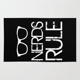 Nerds Rule Grunge Typography Rug