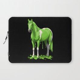 Neon Green Wet Paint Horse Laptop Sleeve