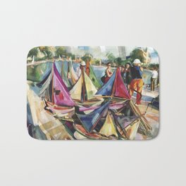 A September sun illuminates the boat tender's stand, No. 1 - The Tuileries pond, Paris Bath Mat