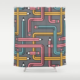 Pencil Maze Pattern pastel grey multi Shower Curtain