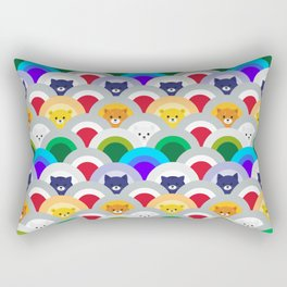 Japanese Wave Pattern cat Rainbow Rectangular Pillow