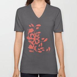 Tropical Flower - Cream Silhouette Over Desert Rose Coral Color Unisex V-Neck