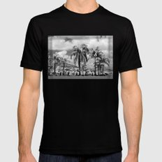Palm Trees in the Suburbs MEDIUM Black Mens Fitted Tee