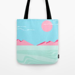 Current - memphis throwback retro colorful tropical abstract sunset sunrise west coast socal Tote Bag