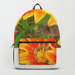 Vibrant Yellow and Vermillion Gazania Rigens Flower Backpack