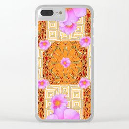 Quilted Style Fuchsia Pink Wild Rose Orange Pattern Abstract Clear iPhone Case