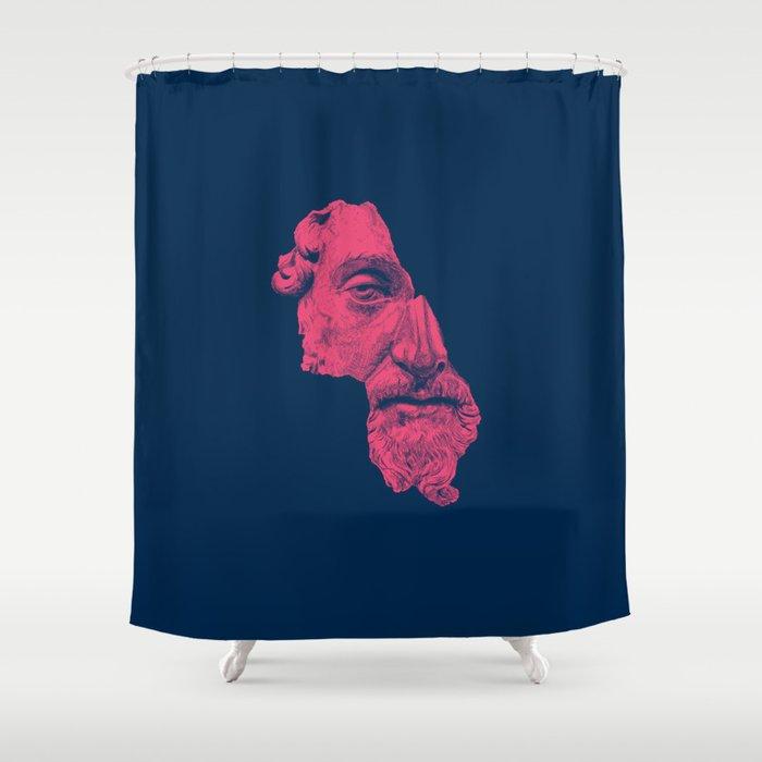 MARCUS AURELIUS ANTONINUS AUGUSTUS Prussian Blue Vivid Red Shower Curtain