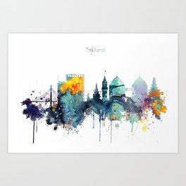 Watercolor Oakland skyline cityscape Art Print
