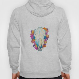 Cow Skull With Flowers Watercolor, Country Rustic Hoody
