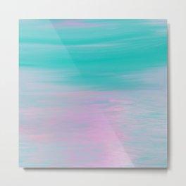 Modern pink turquoise nautical watercolor brushstrokes Metal Print