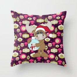 Christmas Ornaments Moose Throw Pillow