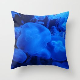 Blue Jellyfish I Throw Pillow