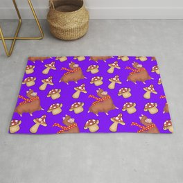 Cute happy llamas with red warm scarves and funny whimsical mushrooms seamless pattern design Rug