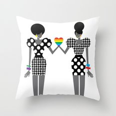 Totally in Love Girls (LGBT) Throw Pillow