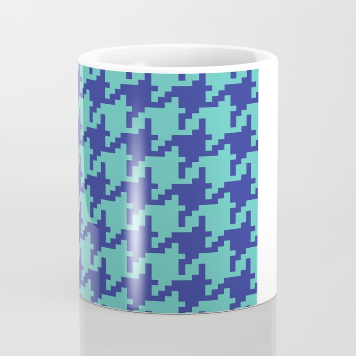 Houndstooth - Blue & Turquoise Coffee Mug