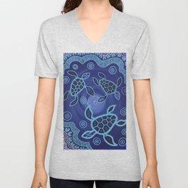 Aboriginal Art Authentic - Sea Turtles Unisex V-Neck
