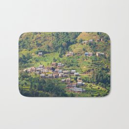 TERRACED HIMALAYAN FOOTHILLS VILLAGE IN NEPAL Bath Mat